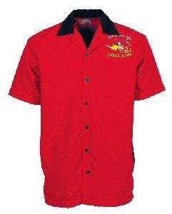 Clay Smith rotes Worker-Hemd mit Rückendruck