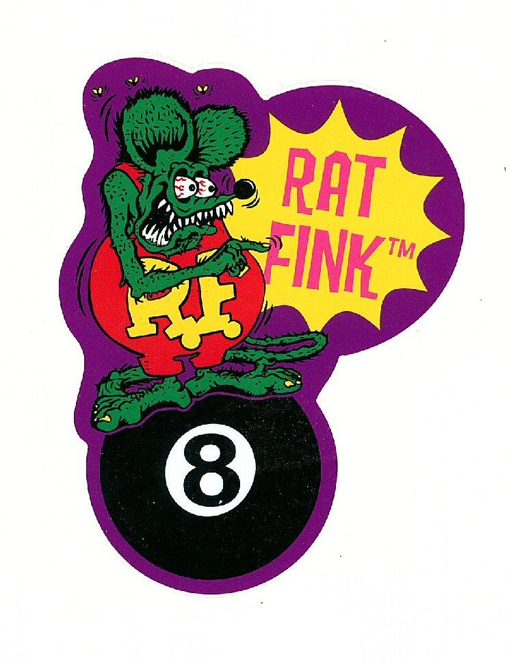 Rat Fink auf dem Eightball